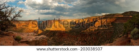Colorado National Monument under a beautiful sunset. - stock photo