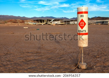 Colorado River and Lake Mead National Recreation Area Drought Water Level  - stock photo