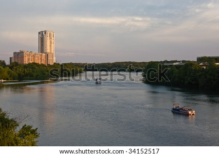 Colorado River at Sunset in Austin, Texas. - stock photo