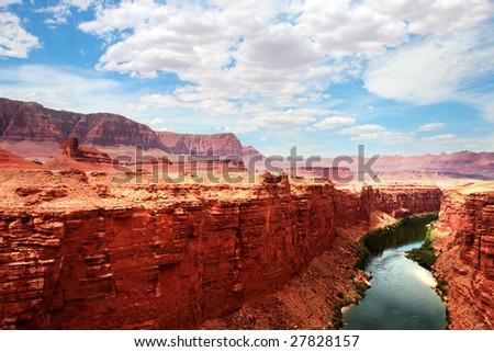 Colorado River flows through the Grand Canyon - stock photo