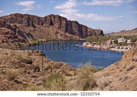 Colorado River Resort on Lake Havasu on the Colorado River separating California from Arizona - stock photo