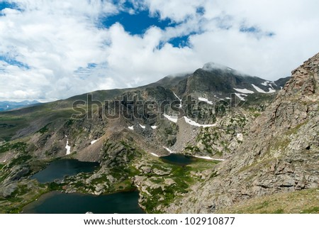 Colorado Rocky Mountains landscape with high alpine lakes - stock photo