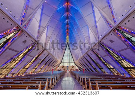 COLORADO SPRING, COLORADO - JULY 5, 2016: United States Air Force Academy Cadet Protestant Chapel on July 5, 2016 at the Air Force Academy, Colorado - stock photo