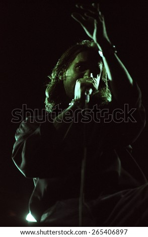 COLORADO SPRINGS, CO.JULY 17:Vocalist Scott Stapp of Creed performs July 17, 1998 at Sky Sox Stadium, CO. USA - stock photo
