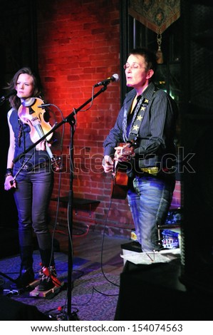 COLORADO SPRINGS		DECEMBER 13:		Folk Artist�s Mary Gauthier and Tania Elizabeth perform in concert December 13, 2011 at The Loft music hall in Colorado Springs CO. - stock photo