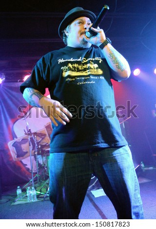 COLORADO SPRINGSMARCH 30:Vocalist Danny Alexander of the Alternative Rap band Rehab performs in concert May 30, 2012 at the Black Sheep music hall in Colorado Springs CO. - stock photo