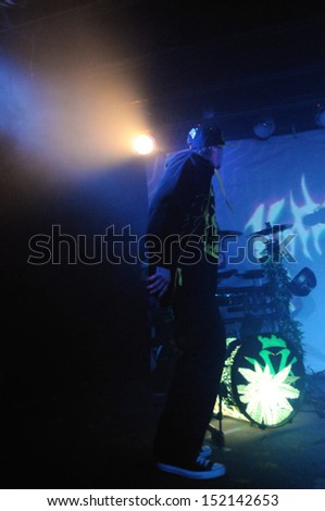 COLORADO SPRINGSNOVEMBER 30:Rapper D-Loc of the Alternative band the Kottonmouth Kings performs in concert November 30, 2011 at the Black Sheep music hall in Colorado Springs CO. - stock photo