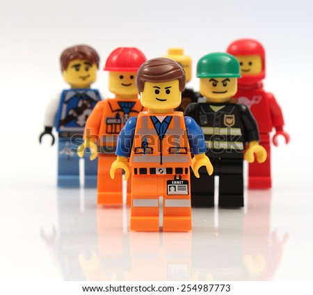 Colorado, USA - Feb. 18, 2015: studio shot of a Lego minifigures. Legos are a popular line of plastic construction toys manufactured by The Lego Group, a privately held company in Denmark. - stock photo