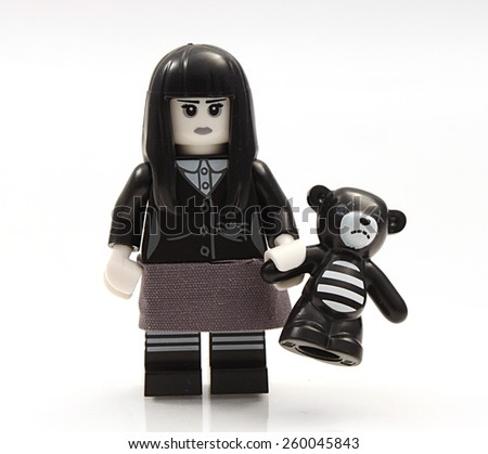Colorado, USA - March 12, 2015: Studio shot of Lego minifigure gothic girl. Legos are a popular line of plastic construction toys manufactured by The Lego Group, a company based in Denmark. - stock photo