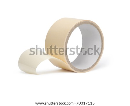 Colored adhesive tape on a white background. Isolated - stock photo