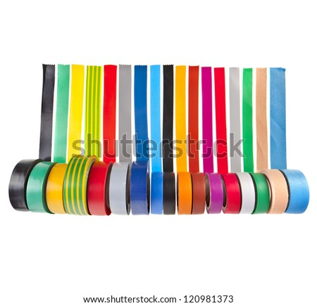 colored adhesive tape roll isolated on white background - stock photo