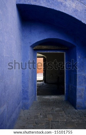 Colored Archway - Peru - stock photo