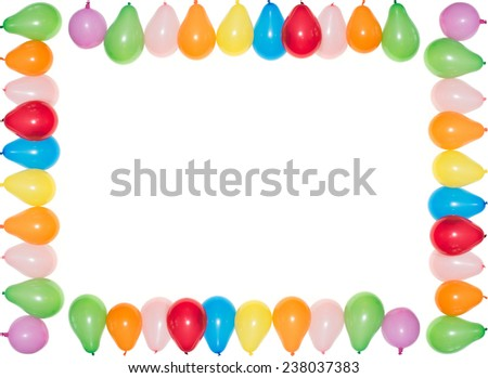 Colored Balloons framing a white rectangular background - stock photo
