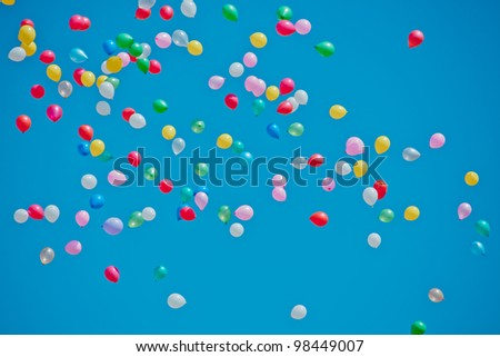 colored balloons on sky - stock photo