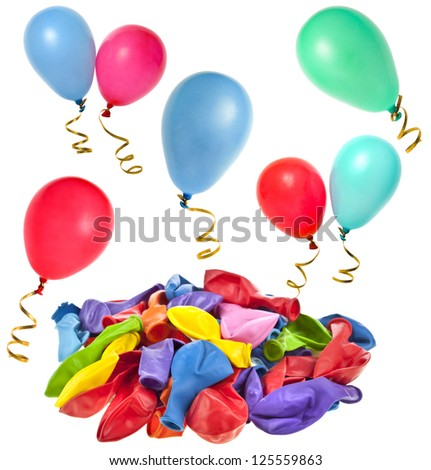 colored balloons on white background - stock photo