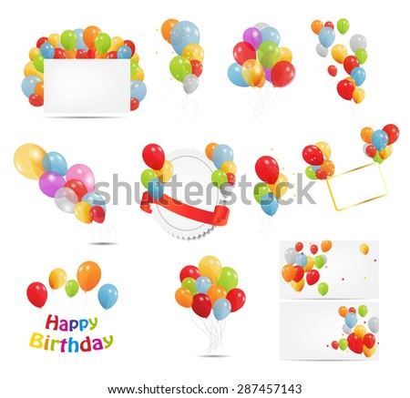 Colored Balloons Set,  Illustration  - stock photo