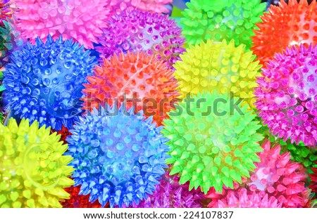 colored balls with spikes for a massage - stock photo