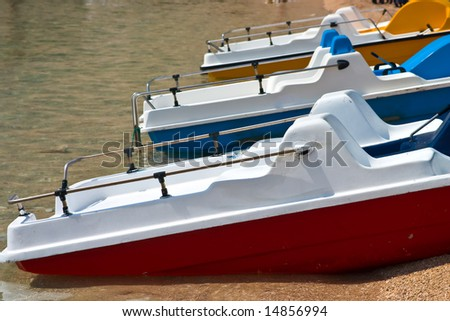Colored beach boat - stock photo