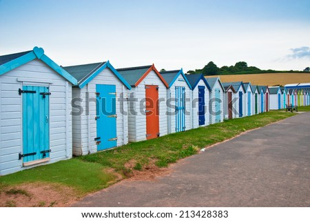 Colored Beach Huts - stock photo