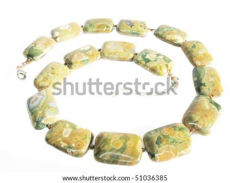 colored beads jasper isolated on white background - stock photo