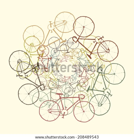 Colored bikes. Background with bicycles. Raster version - stock photo