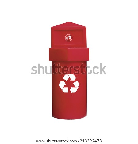 Colored Bins For Collection Of Recycle Materials on White Background - stock photo