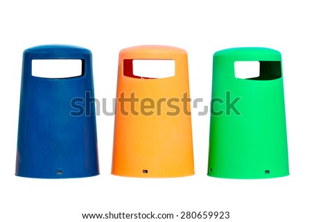colored bins isolated on white background - stock photo