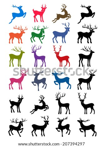Colored & black outlined deer isolated on white background - stock photo