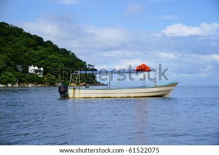 Colored boat at Puerto Vallarta - stock photo