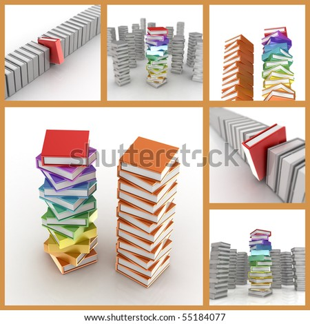 Colored books set. High quality 3d render - stock photo