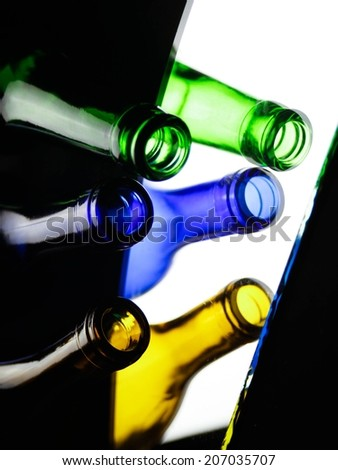Colored bottles - stock photo