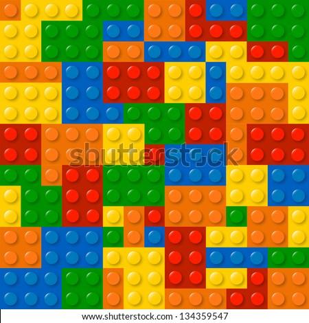 Colored Building Blocks Texture Illustration - stock photo