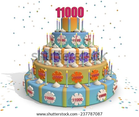 colored cake with number 11000 at the top . Celebrating a birthday , anniversary , winner, or something else. - stock photo