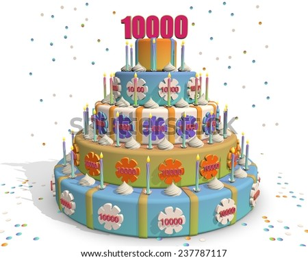 colored cake with number 10000 at the top . Celebrating a birthday , anniversary , winner, or something else. - stock photo