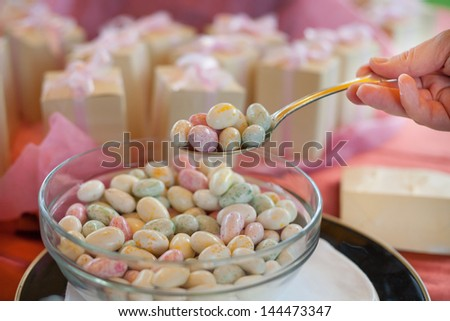 colored candy for a wedding - stock photo