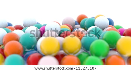 colored candy gum balls on white - stock photo
