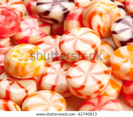 colored caramel candies close-up - stock photo