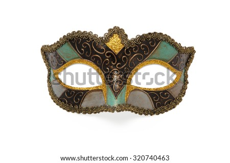colored Carnival mask isolated on white background. - stock photo