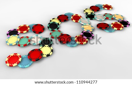 Colored casino chips in the shape of the term sos - stock photo