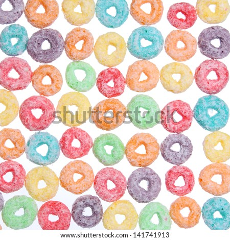 colored cereal loops, texture - stock photo