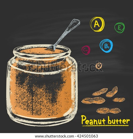 Colored chalk drawn illustration of bank with peanut (groundnut) butter. Vitamins A, E, B1, K and Calcium. Tasty food. Dessert, sweet. Traditional American sweetness. - stock photo