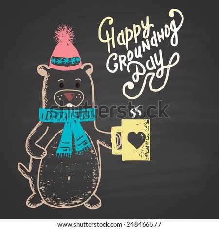 Colored chalk painted illustration with groundhog, cup and text. Happy Groundhog Day Theme. - stock photo