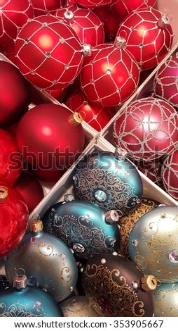 colored christmas bulbs in a box - stock photo