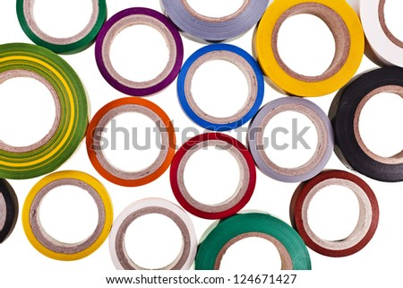colored circles roll of adhesive tape set, top view, close up isolated on white background - stock photo