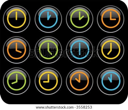colored clocks - stock photo