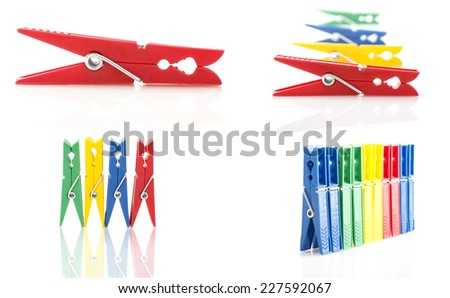 colored clothespins - stock photo