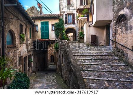 Colored corners in the picturesque Italian village - stock photo