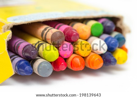 colored crayons on white background - stock photo