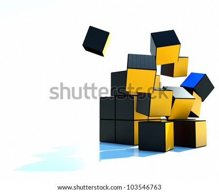 colored cubes collapsible, on a white background - stock photo