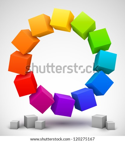 Colored cubes 3D. - stock photo